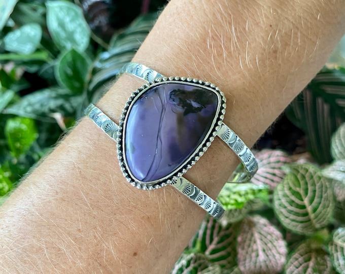 Tiffany Stone Cuff Bracelet, Statement Cuff, Sterling Silver Size Small - Medium, Purple Gemstone, Stamped Design Jewelry, Southwestern
