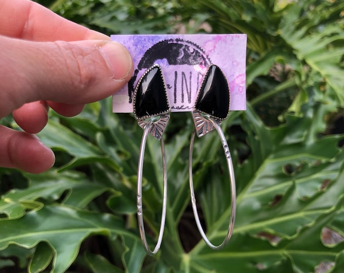 Onyx Hoop Earrings, Sterling Silver, Gypsy, Boho, Southwestern, Gift for her, Stud Back Hoop, Black Onyx