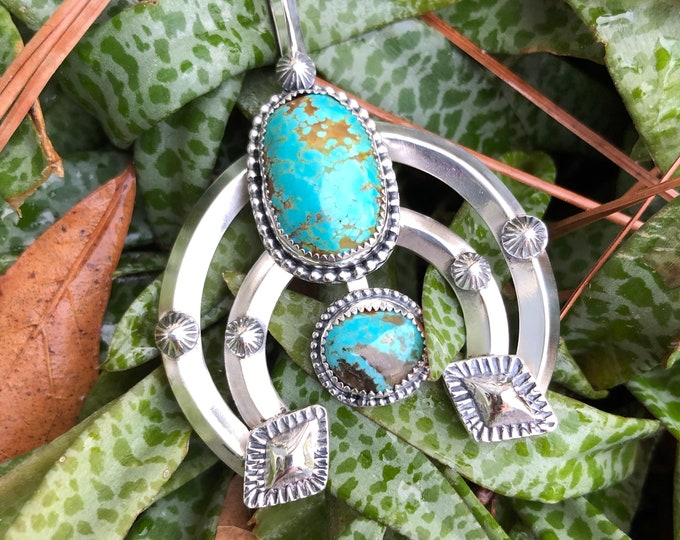 Turquoise Naja Pendant, Sterling Silver, Boho, Southwestern, Gypsy, Fossil, Squash Blossom, Traditional Southwestern Jewelry