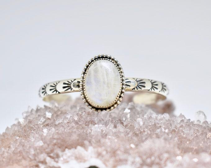 Moonstone Stacker Cuff Bracelet, Sterling Silver, Hand Stamped, Boho Style, Southwestern Design, Gypsy, Festival Fashion