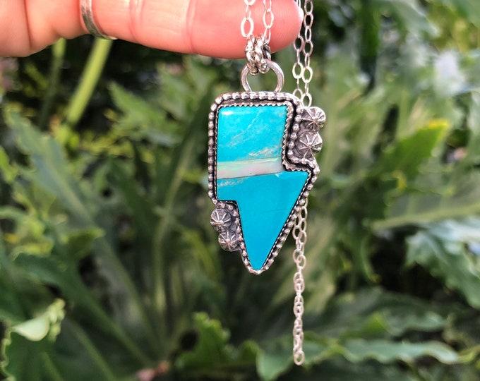 Turquoise and Australian Opal Lightening Bolt Pendant, Sterling Silver, Statement Jewelry, Southwestern, Gypsy
