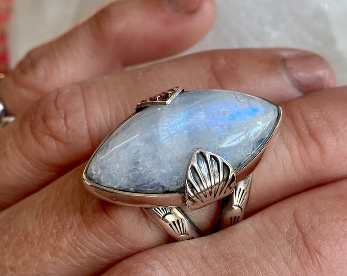 Moonstone Statement Ring, Size 8, Sterling Silver, Gift for Her, Gypsy, Boho Style, Southwestern, Moon Ring, Metaphysical Jewelry, Stamped