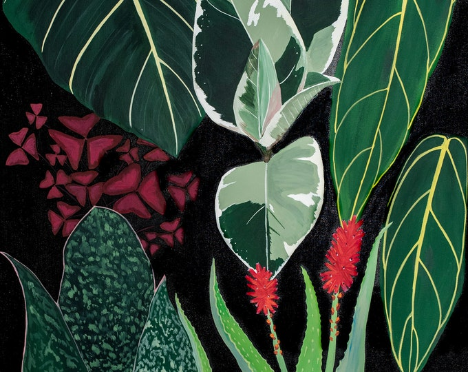 Crazy House Plant Lady Series 3 of 3, Matted Print of Original Painting, Jungalow, House Plant, Monstera, Begonia, Plant Vibes, Jungle, Boho