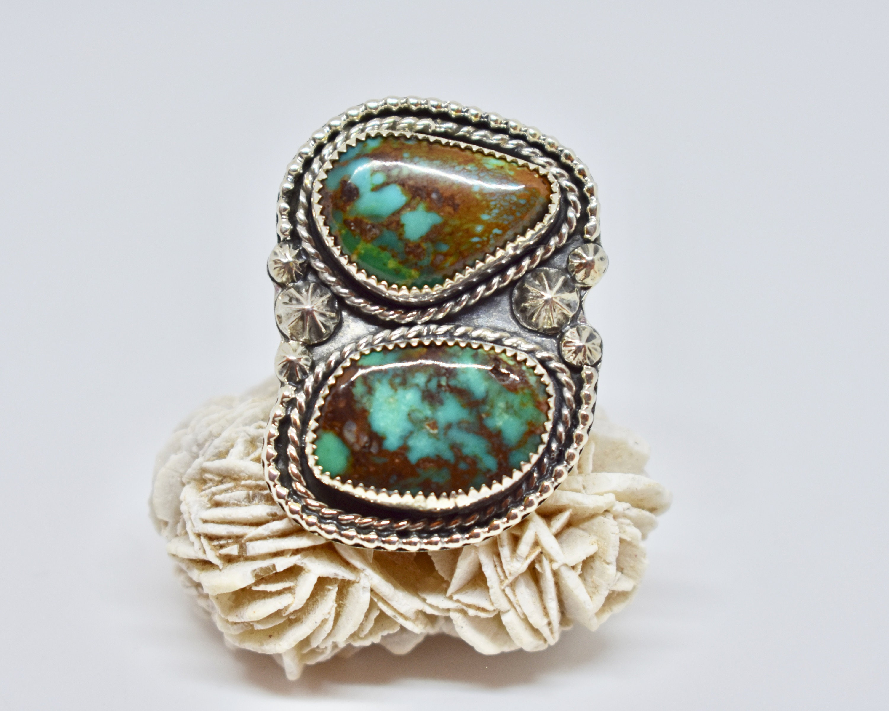 Turquoise Ring Sterling Silver Statement Ring Size 8 75 Boho