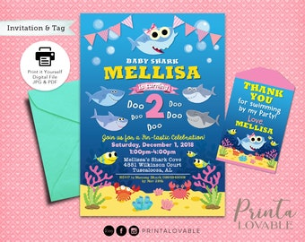 Digital Baby Girl Shark Invitation And FREE Thank You Tags Party Printables Pink