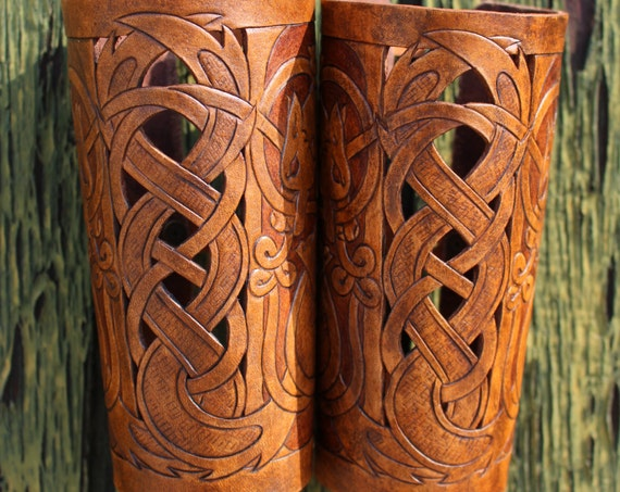"Leather bracers, Viking- ""Skoll and Hati"" HALF LENGTH celtic wolf cut-out design. Now available in 2-tone Brown!"