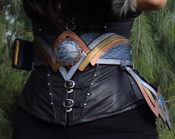 Leather sword belt- Viking Valkyrie Wonder Woman inspired belt w/ detachable pouch and frog. Use as a waist & hip belt! Ambidextrous design!