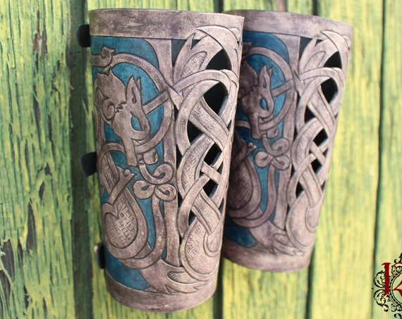 "Leather bracers, Viking- ""Skoll and Hati"" HALF LENGTH celtic wolf cut-out design. Now available in Gray and Blue!"