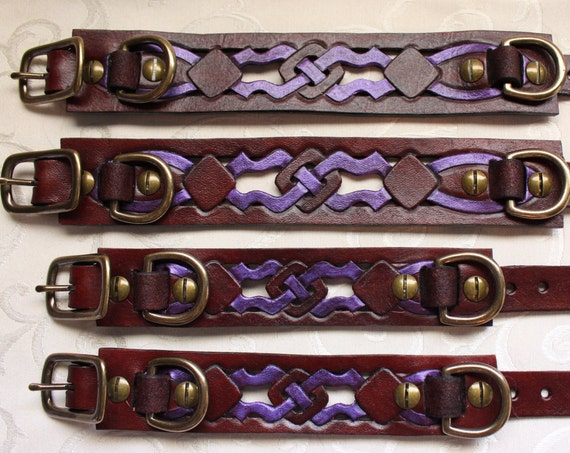 "Wrist AND ankle restraint set to match ""Woodland Servant"" collar design Mahogany dye."