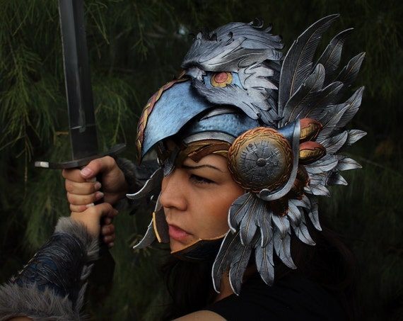 Leather helm- Viking Valkyrie Wonder Woman inspired helm featuring eagle head and Norse compass design
