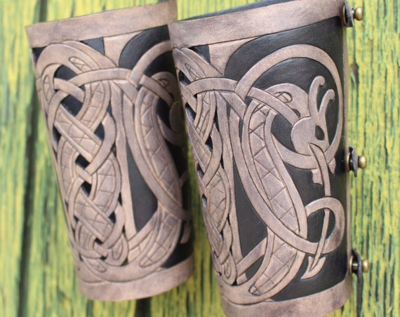 "Leather bracers, Viking- ""Floki"" HALF LENGTH celtic dragon cut-out design"