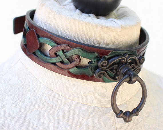 "Fetish leather collar, Celtic- ""Woodland Servant"" knot-work cut-out design. Mahogany dye & bronze ring. Many accent colors available!"