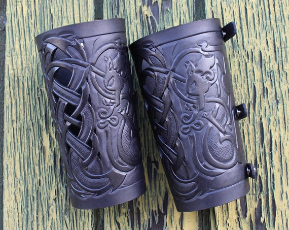 "Leather bracers, Viking- ""Skoll and Hati"" HALF LENGTH celtic wolf cut-out design"