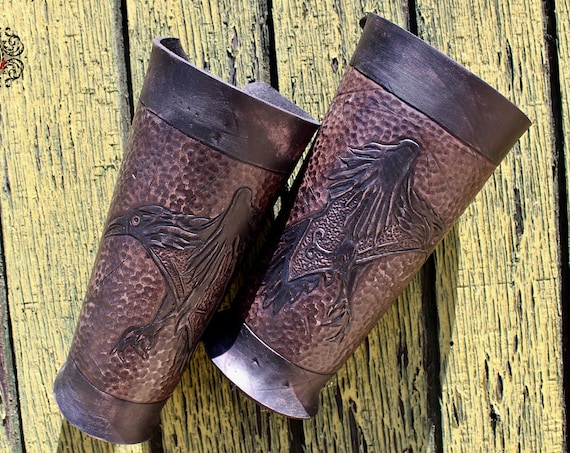 "Leather bracers, Viking- ""Ragnar"" FULL LENGTH celtic raven design"