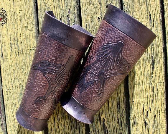 """Leather bracers, Viking- """"Ragnar"""" FULL LENGTH celtic raven design"""