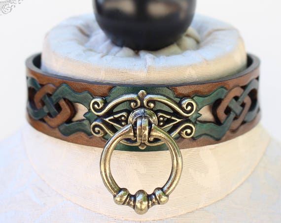 "Fetish leather collar, Celtic- ""Woodland Servant"" knot-work cut-out design. NEW Tan dye & antique gold ring. Many accent colors available!"