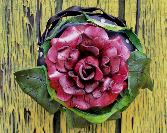 """Beauty in Bloom Collection- """"A Rose for a Rose."""" Tooled leather rose purse with leaf and vine work. Order in any color you want!"""
