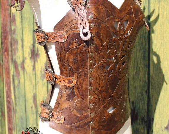 Leather armor corset, Viking design- celtic owl cut-out design in heavy duty leather. Several sizes available! Now in two-toned Dark Brown!