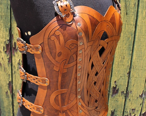 Leather armor corset, Viking design- celtic dragon cut-out design in heavy duty leather. NEW two-tone brown dyes! Several sizes available!