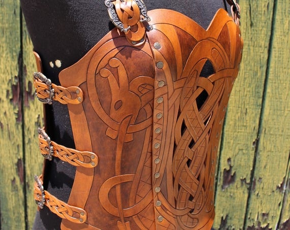 Leather armor corset and bracers! Viking design- celtic dragon cut-out design. NEW two-tone brown dyes. Buy together & get a DISCOUNT!