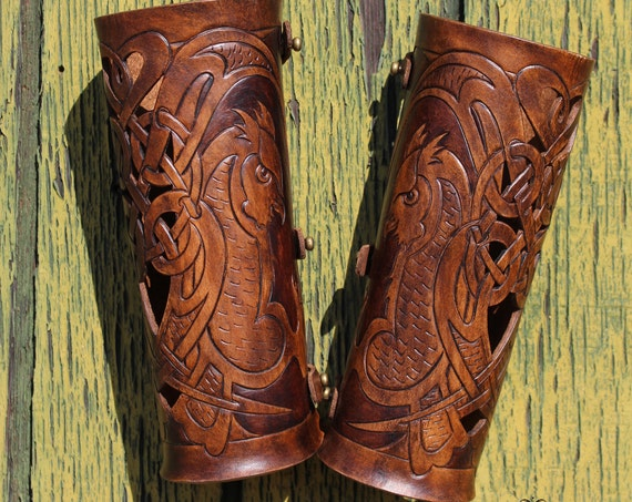 Leather bracers, Celtic owl FULL LENGTH with cut-out detail. NEW design in two-tone dark brown