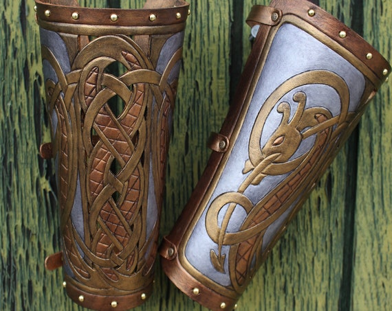 Leather bracers, dragon serpent- FULL LENGTH cut-out design. Now available in metal-like gold and silver tones!