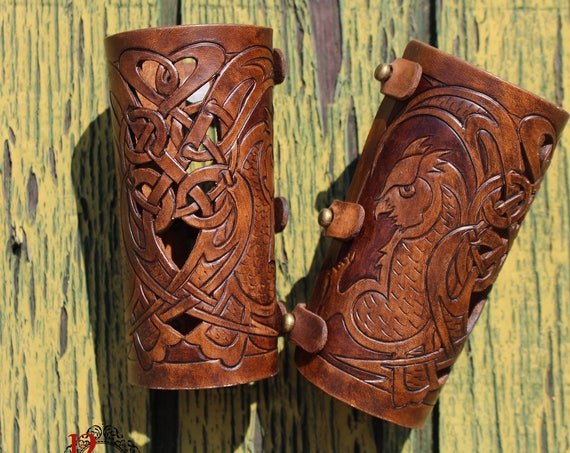 Leather bracers, Celtic owl HALF LENGTH with cut-out detail. NEW design in 2-tone Dark Brown!