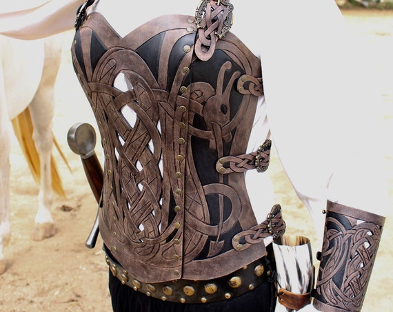 Leather armor corset, bracers AND pouch! Viking design- celtic dragon cut-out design in heavy duty leather. Buy together & get a DISCOUNT!