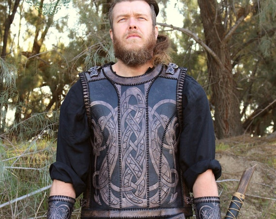 "Leather Viking armor- ""Floki"" hand stitched leather chest plate. Order in your size!"
