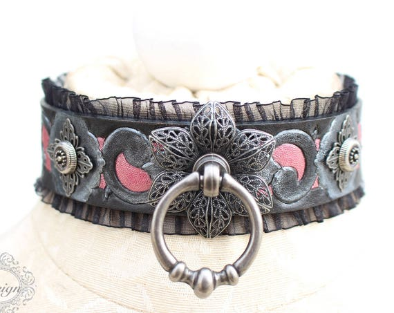 "Fetish leather collar- ""Garden of Otherworldly Delights."" READY TO SHIP! 1 Small (12-14 in) in stock"