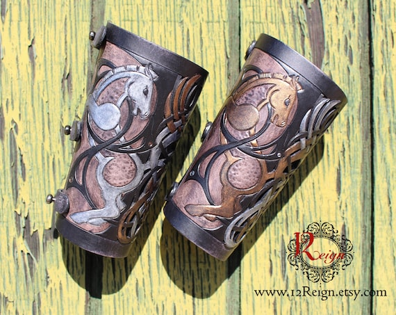 Leather bracers, Viking- HALF LENGTH celtic horse cut-out design