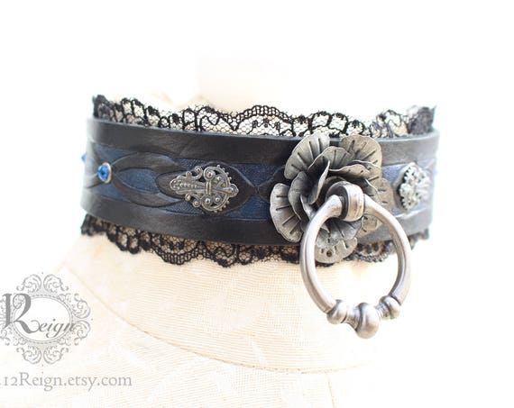 """Fetish leather collar- """"Mina's Eternal Rose"""" Swarovski gems with metal rose and filigree detailings. READY TO SHIP! Size: Small (12-14in)"""