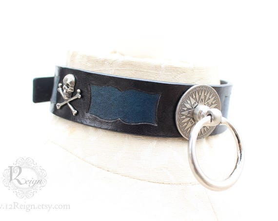 "Fetish leather collar- ""First Mate"" Pirate design. READY TO SHIP! 1 Small (12-14in) and 1 Medium (14-16in) available."