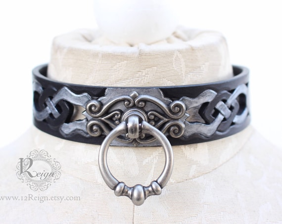 "Fetish leather collar, Celtic- ""Dark Drow"" knot-work cut-out design. NEW Antique Metallic color & center ring. Many sizes available!"