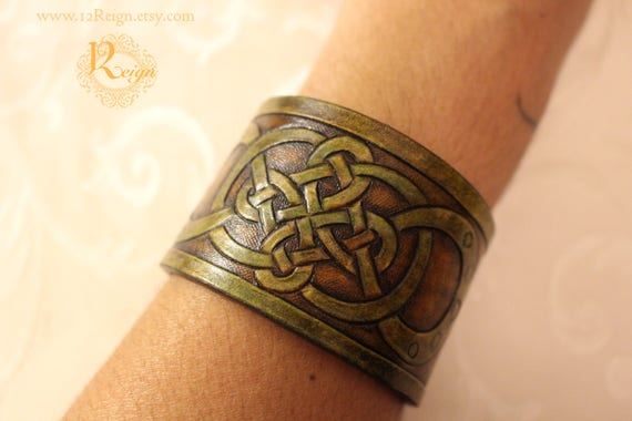 Leather wristband, Celtic- infinity quad knot bracelet design in natural greens and browns. NEW snap closure and custom sizing available!