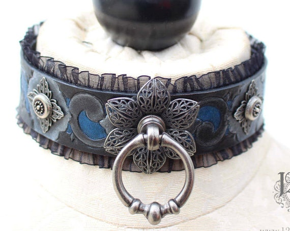 "Fetish leather collar- ""Garden of Otherworldly Delights"" filigree flowers and pewter vines set over a royal blue background"