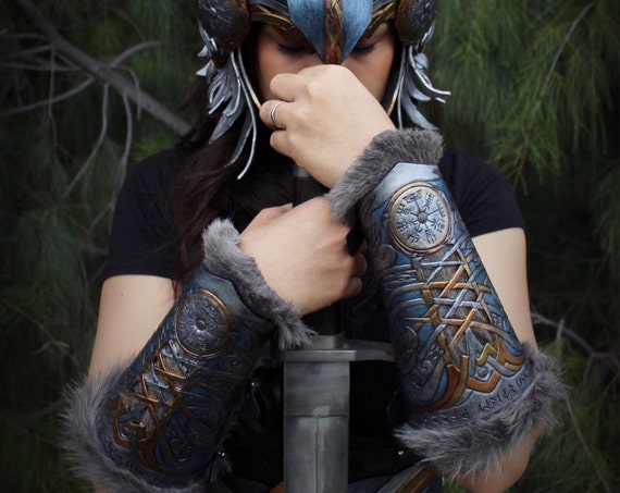 Leather bracers- Viking Valkyrie Wonder Woman inspired fur lined bracers featuring eagle and Norse compass design