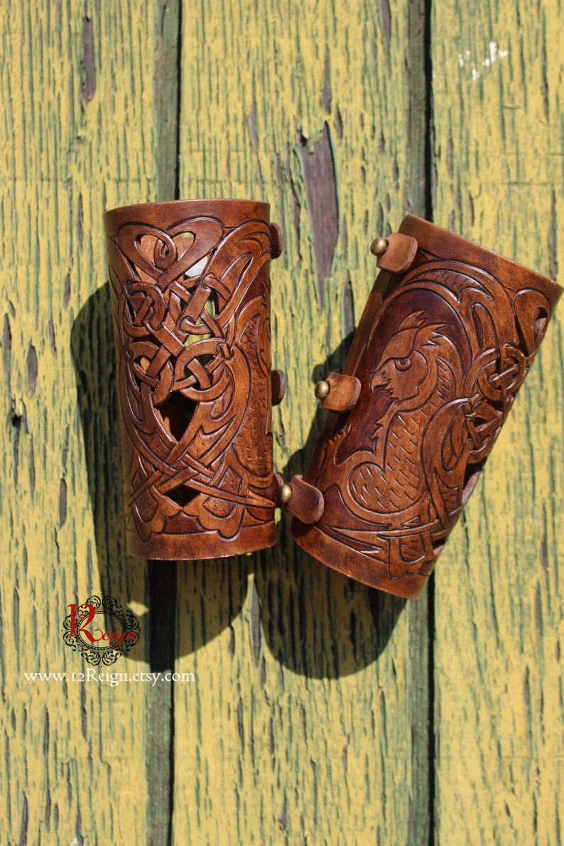 Leather bracers Celtic owl HALF LENGTH with cut-out detail. image 0