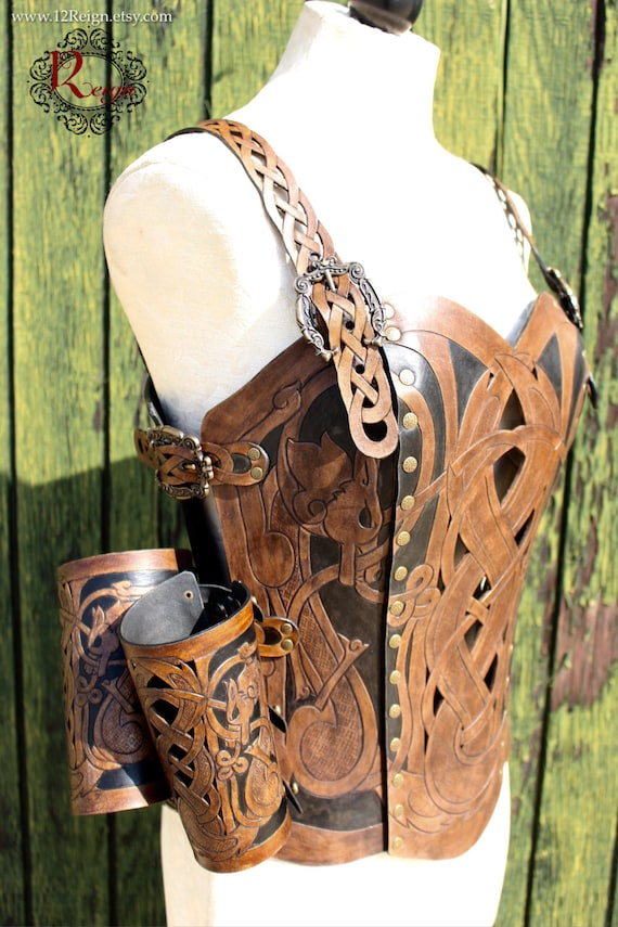Leather armor corset and bracers! Viking celtic wolf cut-out design in heavy duty leather. Buy together and SAVE! Now in Dark Brown & Black!