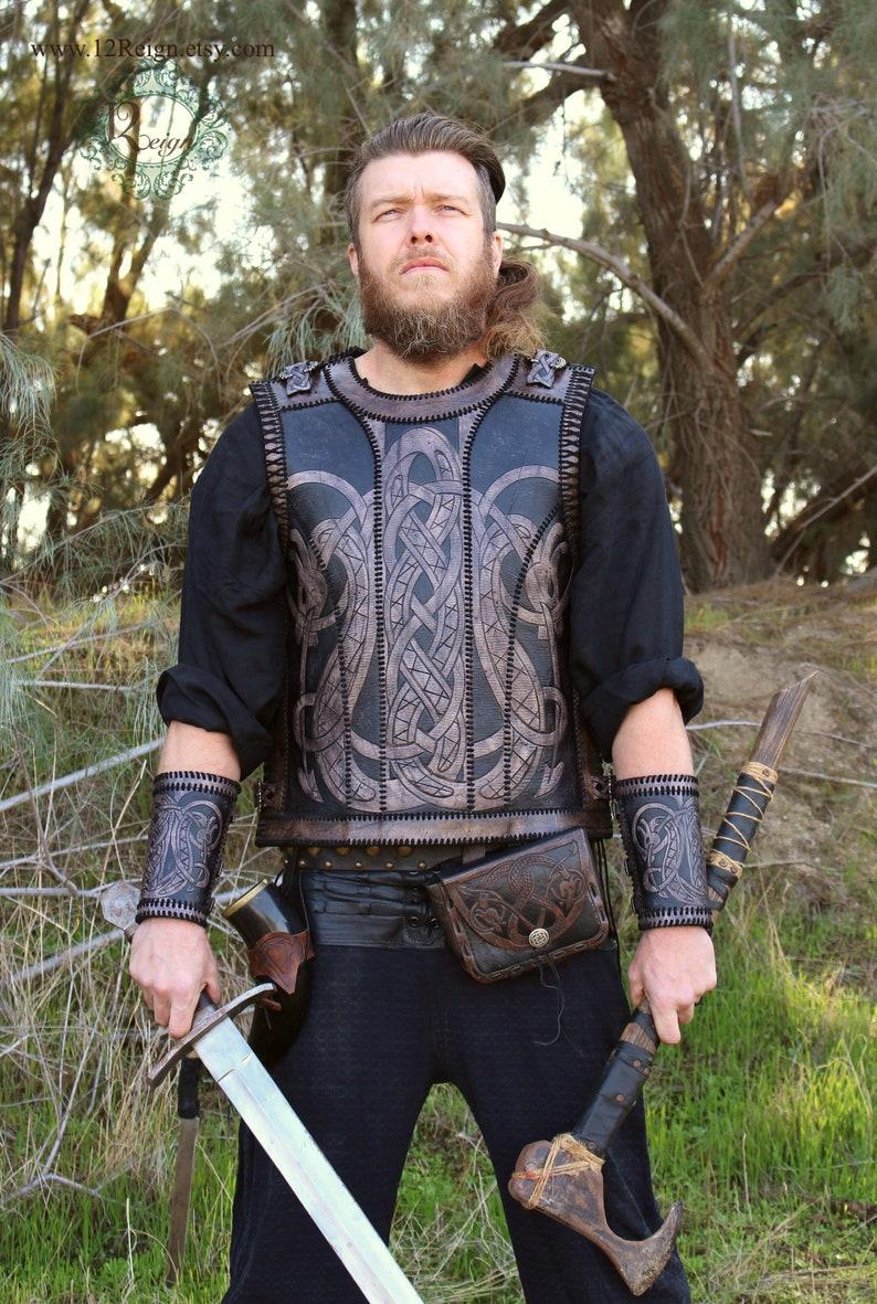 Leather Viking armor Floki hand stitched leather image 0