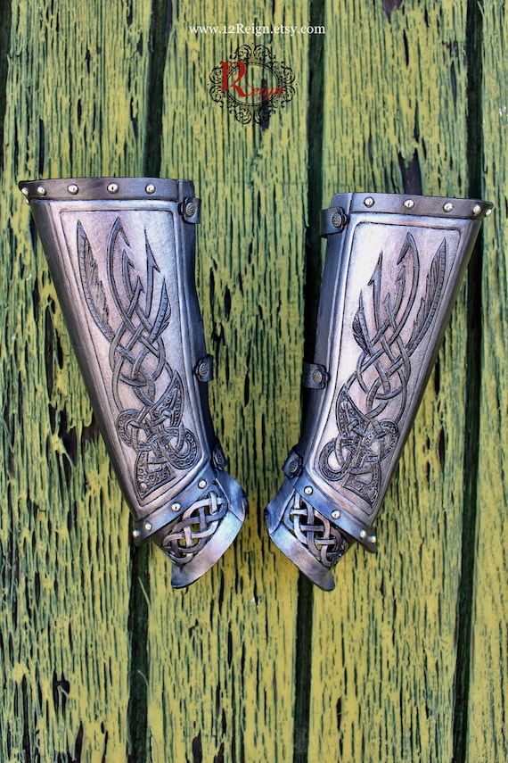"Leather bracers, Viking- ""The Valkyrie"" Celtic wing design with cut-out knot-work. NEW silver tone color!"
