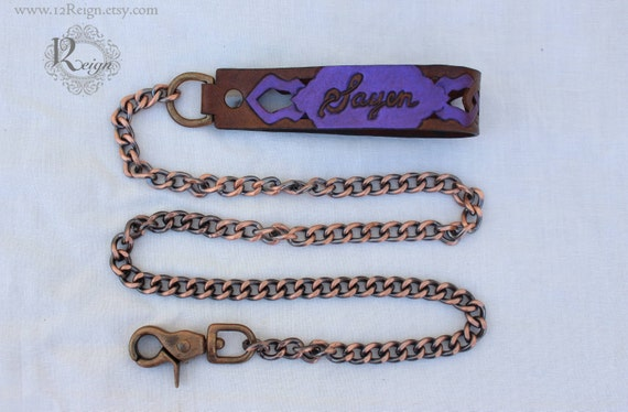 "Collar Leash~ leather and chain made to match mahogany collar design: ""Woodland Servant"""