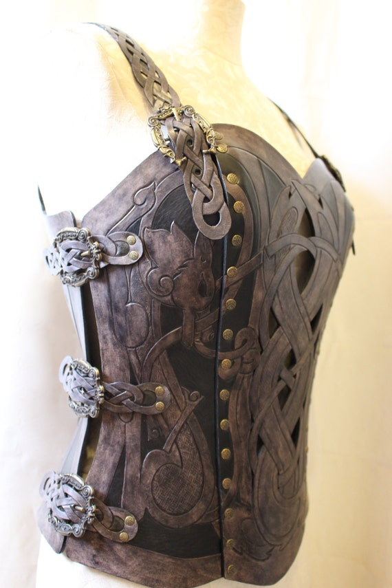 Leather armor corset, Viking design- celtic wolf cut-out design in heavy duty leather. Several sizes available!