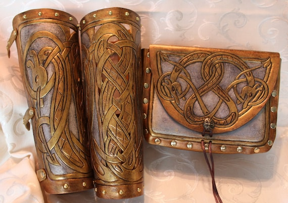 "Leather bracers AND pouch, Viking- ""Floki"" celtic dragon cut-out design. Buy the full length bracers and pouch together and get a DISCOUNT!"