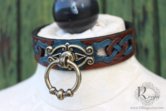 "Fetish leather collar, Celtic- ""Woodland Servant"" knot-work cut-out design. Dark Brown dye & antique gold ring. Accent colors available!"