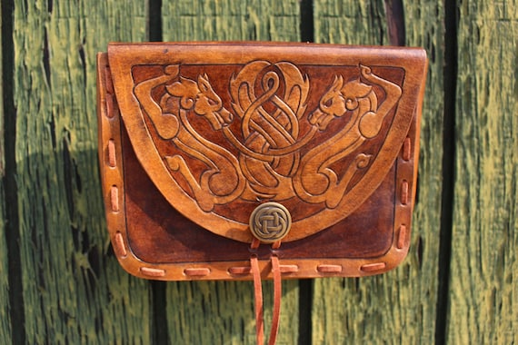 "Leather Viking pouch- ""Skoll and Hati"" dual celtic wolf design with custom concho closure. Now available in 2-tone Brown!"