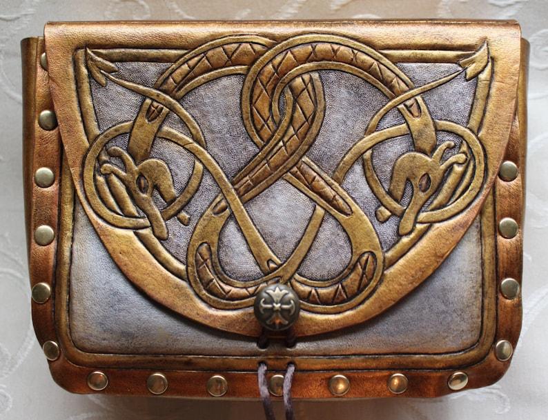 Leather pouch dragon serpent. Dual celtic dragon serpent image 0