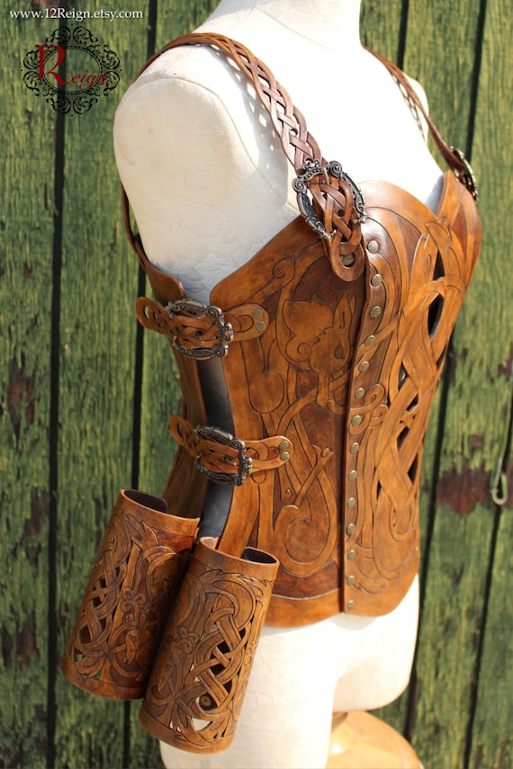 Leather armor corset and bracers! Viking celtic wolf cut-out design in heavy duty leather. Buy together & SAVE! Now in 2-tone Brown!