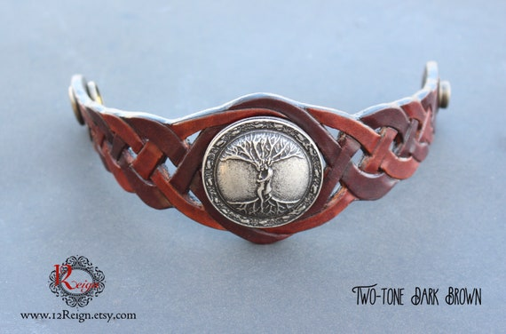 "Leather Tree of Life Druid wristband. ""We Entwined"" 925 antique silver plated emblem. Snap closure with custom sizing available!"