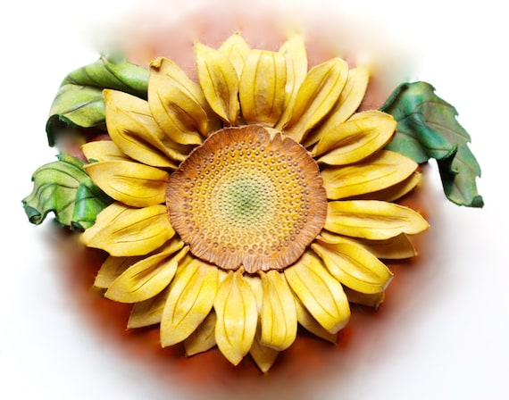 Leather Sunflower Accessory- clip or pin to your hair, hat or bag! Many colors and sizes available!